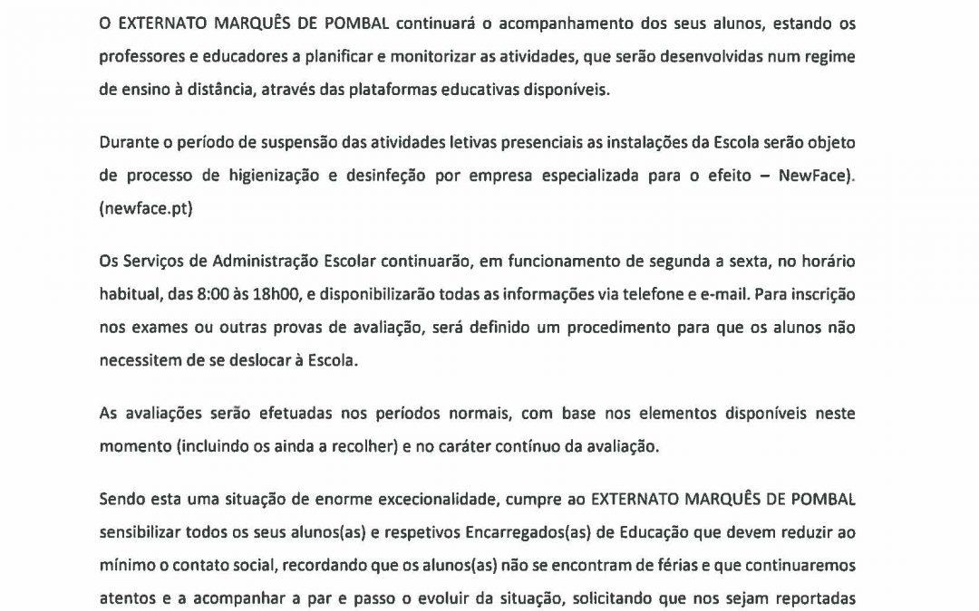Comunicado EXTERNATO MARQUÊS DE POMBAL – 13.03.2020