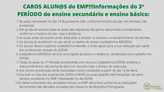 INFORMAÇÕES 3º PERÍODO DO ENSINO SECUNDÁRIO E ENSINO BÁSICO